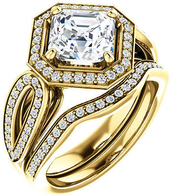 1.85 carat, 1.51 ct GIA G VS1 Asscher cut Diamond Halo Engagement 14k Gold Ring