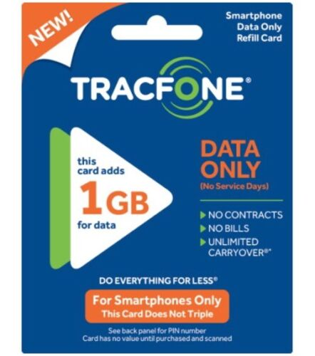 Tracfone Wireless Android Data Plan Card 1gb Data X2 = 2g...
