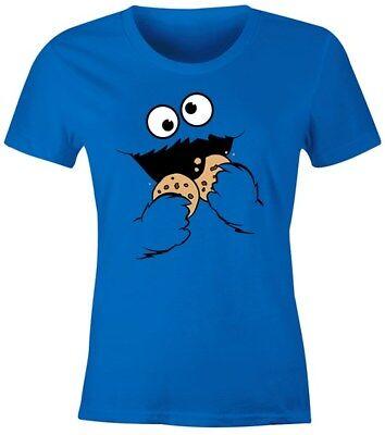 Damen T-Shirt Krümelmonster Keks Cookie Monster Fasching Karneval Kostüm Slim