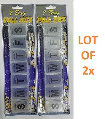 LOT OF 7 Day Jumbo Large Pill Box Case Organizer Vitamins Medicines Individual