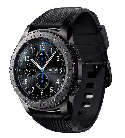 Samsung Galaxy Gear S3 frontier 46mm Stainless Steel Case Black Sport Band