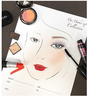 EunEun Art Makeup Artist Sheet Face Chart for Professional (14 sheets)