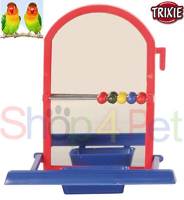 BIRD TOY MIRROR FOR CAGE BEADS & BOWL BUDGIE CANARY-SMALL BIRDS PET