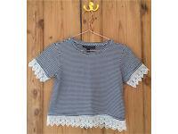 Topshop petite lacy black and white stripe t shirt size 6