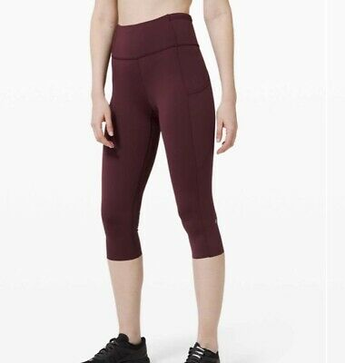 """lululemon Fast And Free High Rise Crop 19"""" Cassis Size Us4 Uk 8 Rrp £98"""