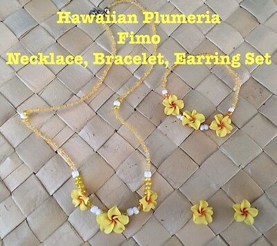 Hawaiian Plumeria Flower Fimo Necklace Bracelet Earring Set Yellow Wedding Brida