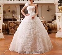 Primavera 2016 Abito Da Sposa Matrimonio In Pizzo Romantico Fiori Wedding Dress -  - ebay.it