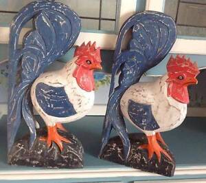 Very Large Wooden Bali Roosters x 2 Clontarf Redcliffe Area Preview