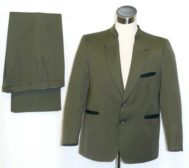 """WOOL SUIT Jacket Pants GREEN Men Military German Oktoberfest Trachten c46"""" w38.5"""