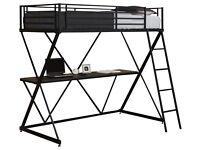 BLACK METAL X- BUNK BED & FULL LENGHT WORKSTATION DESK UNDER BENSONS FOR BEDS RRP £249.00