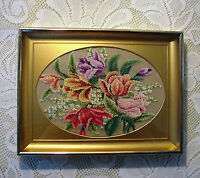 Spray of Flowers Petit Point - Recessed Oval Brass Frame