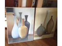 2x large printed canvas frames pictures