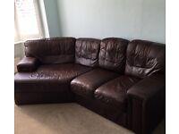 Italian Leather Angled Corner Sofa and Armchair - Dark Brown