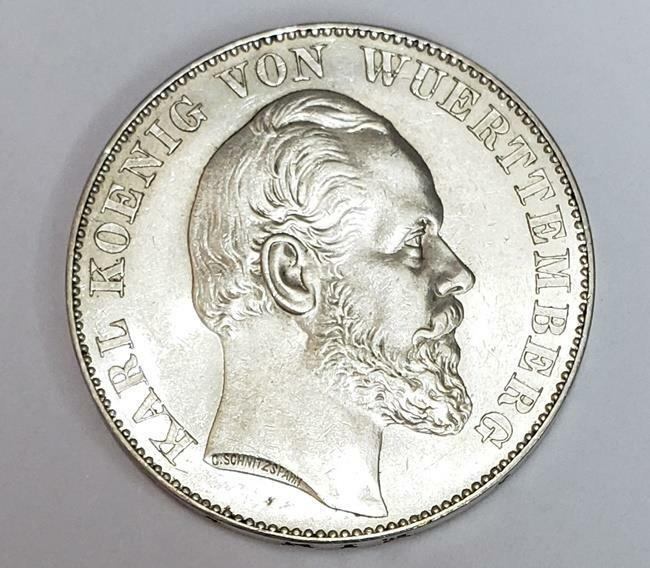 Thaler 1871 German States Wurttemberg Victory French/Prussian War Silver AU/Unc