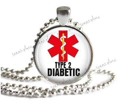 Type 2 Diabetic Medical Alert Necklace Glass Top Pendant Silver Setting   Chain