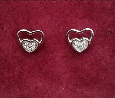 925-Sterling Silver & CZ Micro Pave Heart Stud Earrings