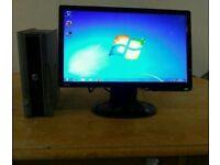 Dell Slim Small Desktop Computer PC & Benq 19 Monitor Widescreen