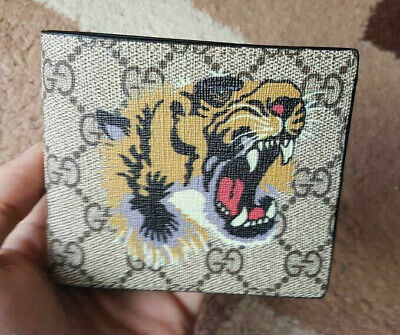 Gucci GG Beige Supreme Animalier Tiger Wallet - Card Bifold Wallet for Men