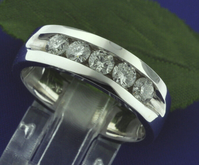 Classic 5 Stone 1.00 Ct 14k White Gold Mens Natural Diamond  Ring Channel Set