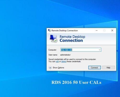 RDS License Active Windows Server 2016 Remote Desktop Services 50 User CALs Fast