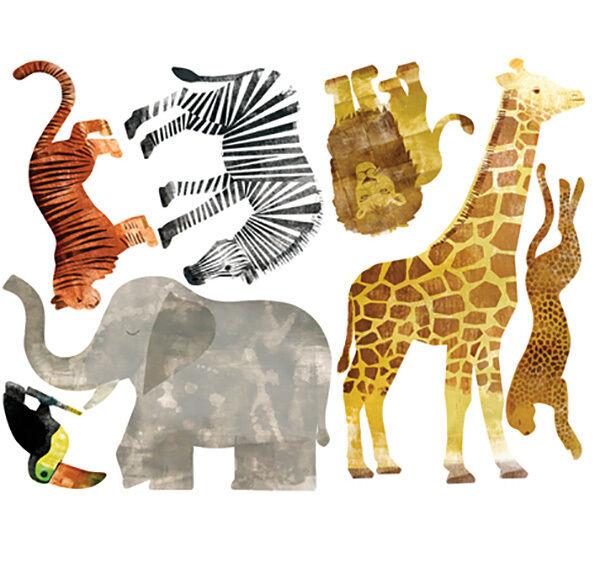 Wallies wandsticker dschungeltiere afrika selbstklebend giraffe elefant zebra eur 25 95 - Wandsticker elefant ...