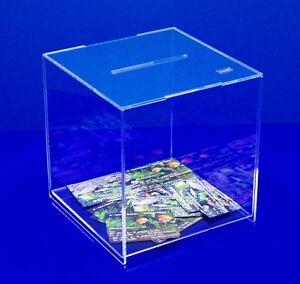 sudu® Losbox, Aktionsbox, Spendenbox Acrylglas klar 20x20x20cm