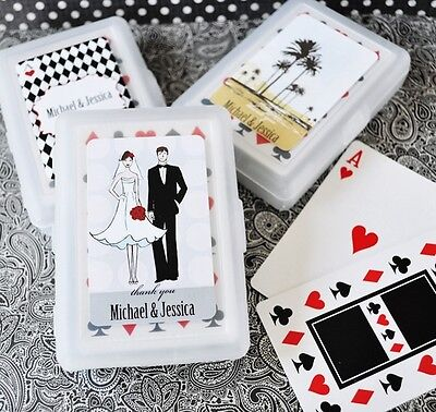 100 Personalized Playing CARDS Wedding Favor Asst Designs Spring Summer Holiday](Personalized Playing Cards Wedding Favors)