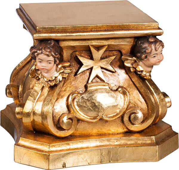 Base Pedestal Support Statue With Witness Di Putto In Wood