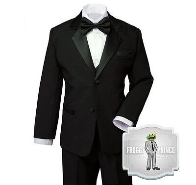 Formal Boys Kids BLACK Tuxedo Suit with Bow Tie Tie Complete Set Size Small - 20 - Black Boys Suits