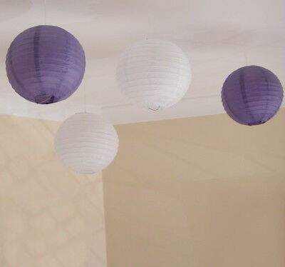 24x purple white paper lanterns engagement wedding birthday party venue decor (Purple And White Birthday Decorations)