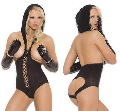 Cupless Teddy Hood Bottomless Lace Up Open Cut Out Back Lingerie Hooded (Lace Up Teddies)
