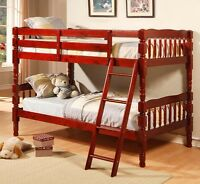ESPRESSO + Cherry SINGLE/SINGLE PINE WOOD BUNK BED