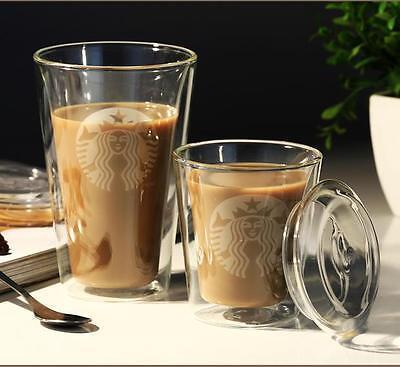 Mermaid Double Wall Glass Coffee Cup Insulated Milk Tea Mugs Drinkware with Lid