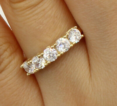 1.00 Ct 14K Real Yellow Gold Five 5 Stones Round Wedding Anniversary Ring Band 14k Gold Five Stone