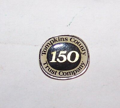 Vintage Tompkins County Ny Trust Co Bank Advertising Lapel Badge Premium Pin