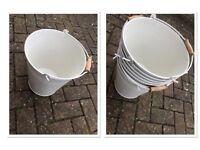 8x Metal White/Cream Wedding Display Storage Ice Flower Buckets