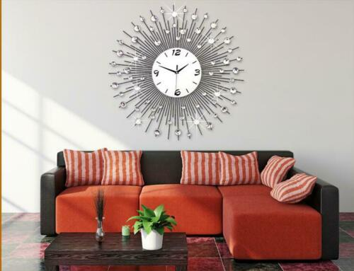 60x60cm Modern Luxury Large Art Round Diamond Wall Clock Hom