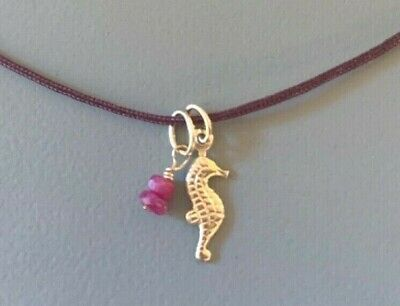 seahorse charm pendant ruby drop charm beach jewelry real ruby beads 14k gold 14k Gold Seahorse Pendant