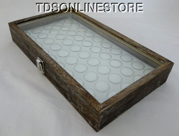 Rustic Antique Coffee Color Glass Top Display Case With 50 Gem Jars Wht