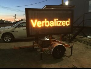 Solar Powered Hydraulic Trailer Mounted Construction Sign