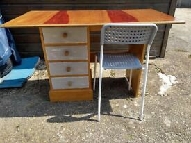 REDUCED - Desk with chair & bedside table - ideal for child / teenager bedroom