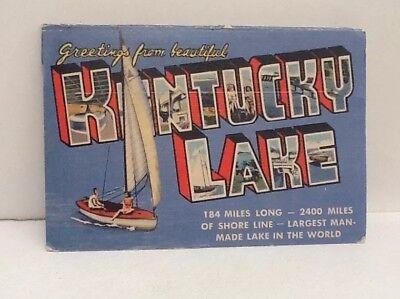 Kentucky Lake~Large Letter Linen Postcard~Bathing Beauty on Sailboat~TVA Dam~PC