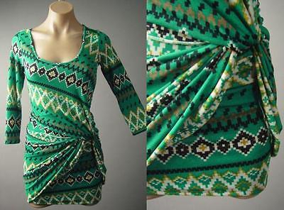 Southwestern Tribal Print Gathered Drape Twist Sweater Knit 126 mv Dress S M -