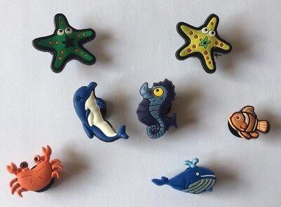 7 Schuh Pins - Buttons - Anstecker für  Crocs - Clogs - Im Meer  -