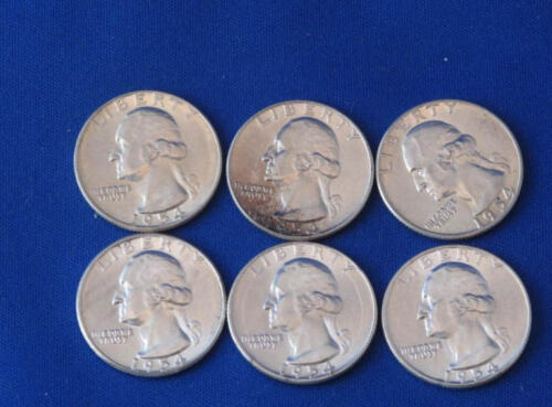 1954-P Silver Washington Quarter BU Lot Of 6 B2364