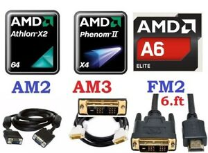 CPU AMD Dual Core AM2, AM3, FM2, DVI to HDMI, DVI or VGA cable