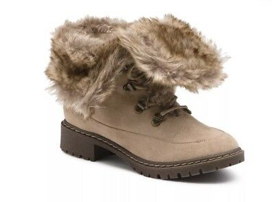 2 Way Wear Bass Angelica Stone Taupe Faux Fur Suede Winter Snow Boots Sz 11 NIB