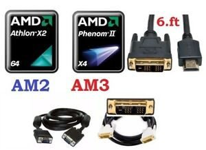 CPU AMD Dual Core AM2, AM3, DVI to HDMI, DVI or VGA cable