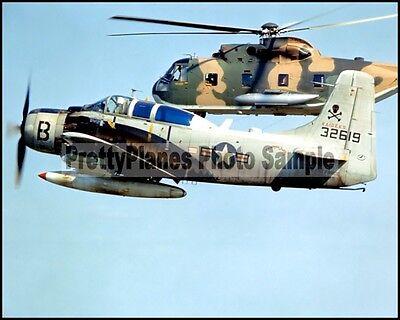 USAF A-1 Skyraider 1st ACS/SOS & HH-3 1966 8x10 Photo