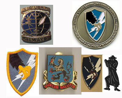 ASA Shadowbox SPECIAL! - Coin-PINS-Patch Army Security Agency ASA LIVES! 6 items